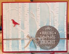 Sneak peek card made with goodies from the new Sampin' Up! 2015 Holiday catalog. Uses the Woodland embossing folder and the Among the Branches stamp set. Created by Rachel Bunday