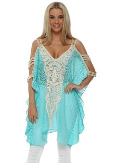 4cd22bb53273a LAURIE & JOE Gold Braid Turquoise Lace Tunic Top Beach Kaftan, Lace Tunic,  White