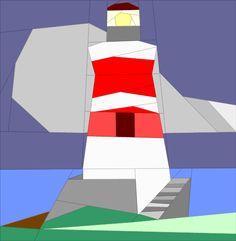 Lighthouse by QuiltArtDesigns - Craftsy House Quilt Block, House Quilts, Barn Quilts, Quilt Blocks, Paper Piecing Patterns, Quilt Block Patterns, Pirate Quilt, Ocean Quilt, Nautical Quilt