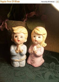 Porcelain  Figurines Praying Children Blonde Girl  and Boy