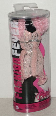 '05 BARBIE FASHION FEVER Outfit in Cello Tube Pink Party Dress w/Shrug, Cute!