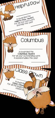 21 of the most ADORABLE FOXY awards are just waiting for you to print and hand out at the end of the school year. $
