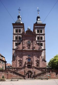 West facade of the Abteikirche abbey church Amorbach Mainfranken Lower Franconia Franconia Bavaria Germany Europe