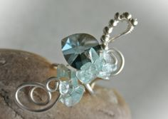 Etysy- Heartbeat - silver plated left sided wire ear cuff with aquamarine and Swarovski heart