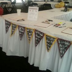 LOVE how well my photo pennants turned out! I hung from the front and side of our class reunion's registration table. Reunion Name Tags, School Reunion, Banquet, 50th, Clever, High School, Prom, Ideas, Senior Prom