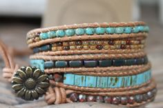 Wrap Bracelet boho style  ♥♥ Are you looking for a trendy jewelry gift for a special someone.....Mother, daughter, grandma, girlfriend, bestfriend or just a special gift to tread yourself, this beaded wrap bracelet will be a beautiful and unique handmade gift.   ♥ This bracelet has a beautiful richly colored pattern what will give the wrap bracelet a bohemian gypsy vibe and looks like separate colored bracelets. The beads has a very beautiful color combination.   ♥ The beaded wrap bracelet…