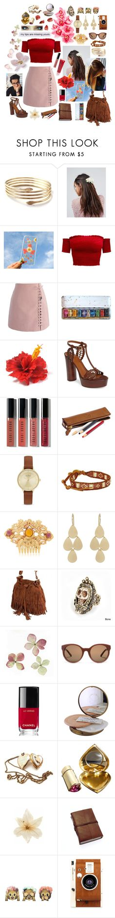 """My lips are missing yours. Spring Themed"" by marta-cassiano-santos ❤ liked on Polyvore featuring ASOS, Chicwish, Aquatalia by Marvin K., Bobbi Brown Cosmetics, Skagen, Chan Luu, Rodarte, Irene Neuwirth, Retrò and Sweet Romance"