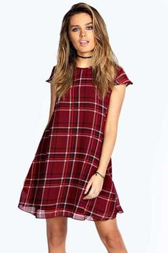 This Tine Woven Tartan Swing Dress is a must this season