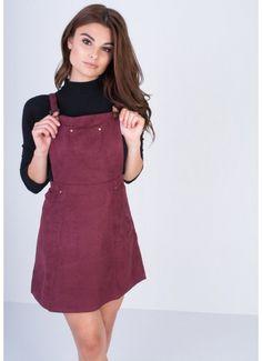 Alita Wine Suede Pinafore Dress