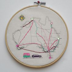 Australia hoop art - Map your journey.  Here you will find products to do on your trip, or to keep the memories of your journeys alive. #travel #theartoftravel
