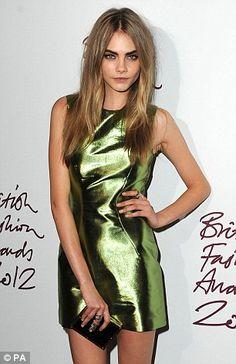 Cara Delevigne - Metallic dress