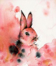 Chèvrefeuille  lapin Art par amberalexander sur Etsy