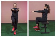 """Single Leg Squat To Box - Single leg squats can be started quite simply (but don't mistake simple for easy). In fact, anyone can start with a """"sit to stand"""" effort."""