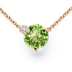 Necklace Peekaboo anchor rose gold snaplink clasp length 45 cm, peridot (N) with round cut total ct., place of origin: Pakistan, 10 diamonds with brilliant cut total ct. Gold Necklace, Pendant Necklace, 18k Rose Gold, Peridot, Fine Jewelry, Delicate, Pure Products, Gemstones, Chain