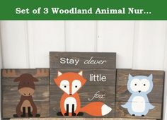 Set of 3 Woodland Animal Nursery Signs Nursery Decor Baby Shower Gift or Baby Decor Clever little fox nursery accessories. These signs are adorable and you will not find these signs in any store but my shop, these are my creations that I have hand drawn and hand painted on each sign. This is a set of 3 signs that have been stained gray and have 3 woodland animals painted on them. I put a lot of time into my pieces so that each one will be beautiful. These wooden signs are great for a…