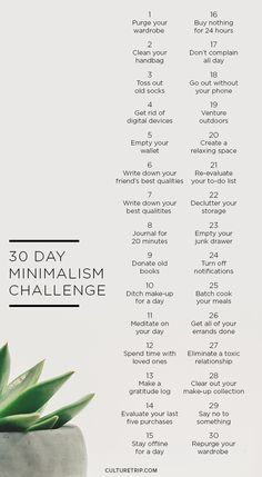 The 30 Day Minimalism Challenge|Pinterest: theculturetrip