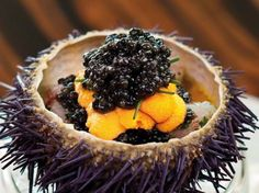 Sea urchin topped with Botan prawns and Oscietra Cavier at Waku Ghin, Level 2, Marina Bay Sands Hotel, Singapore