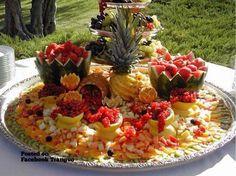 Mehndi Fruit Decoration : Fruits table at a mehndi wedding decorati
