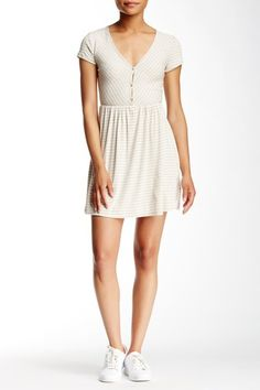 992bb0945 Image of Abound Short Sleeve Ribbed Button Front Dress Button Front Dress,  Shirt Dress,. Nordstrom Rack