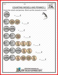 Counting Nickels and Pennies, a counting money worksheet for 1st grade