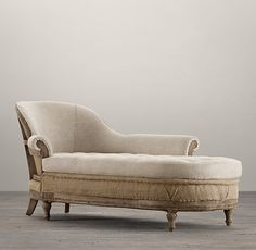 "Deconstructed French Victorian Right Arm Chaise  DIMENSIONS  34""W x 79""D x 33""H  from Restoration Hardware"