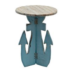 Distressed Blue Anchor Accent Table