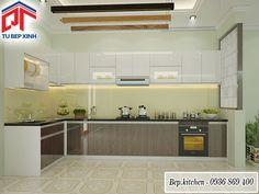 tủ bếp acrylic kính ốp vàng chanh kc218