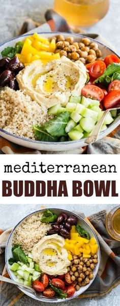 This easy Mediterranean Buddha Bowl is full of colorful veggies, nutritious quinoa, and roasted chickpeas. Top with hummus for an epic power lunch! #mediterraneanrecipeshealthy