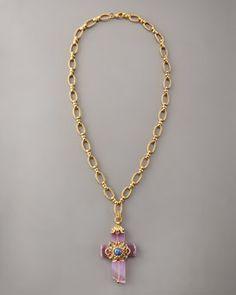 Jose & Maria Barrera  Agate Cross Pendant Necklace