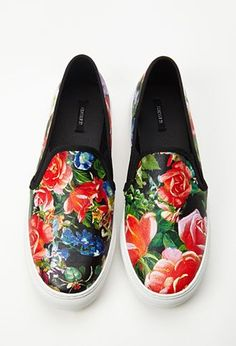 Trendy Womens Sneakers : Hothouse Floral Slip-Ons