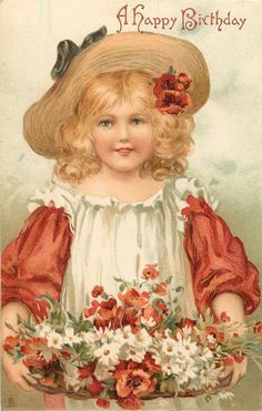 girl with red/white dress & poppies and daisies