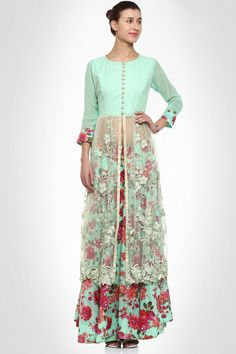 Floral printed gharara with sheer embroidered panels
