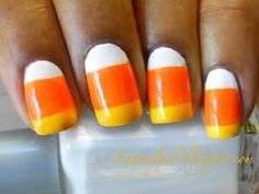 Candy Corn fingernails