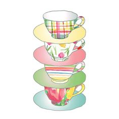 Kitchen art A Stack of Cups Art Print colorful por TheJoyofColor