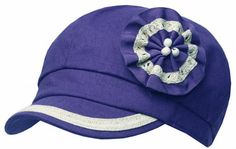 EH3422BC - Womens Linen Blend Newsboy / Cabbie Hat / Cap with Ribbon Flower Accent - Purple/One Size