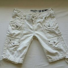 Miss Me Cargo Bermuda Shorts Miss Me Cargo Bermuda Shorts Sz 26 in White Linen with multiple pockets and draw string cuffs at leg. Miss Me Shorts Cargos
