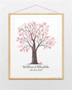 Wedding Guest Book Tree, Wedding Fingerprint Tree, Watercolor Tree