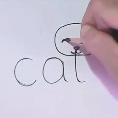 "Word ""cat"" Converted into a Cartoon Cat cartoon cat Word ""cat"" Converted into a Cartoon Cat 😽🖌 Word Drawings, Easy Drawings For Kids, Art Drawings Sketches Simple, Art For Kids, Drawing With Words, Drawings Of Cats, Simple Animal Drawings, Draw Animals For Kids, Cute Drawings Of Love"
