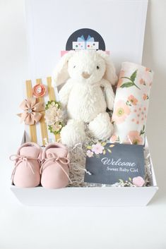 We've got a variety of baby gift boxes for a sweet baby girl. Each baby gift box contains a card that we hand fill to convey your thoughts. Girl Gift Baskets, Baby Shower Gift Basket, Baby Gift Box, Baby Hamper, Baby Box, Baby Girl Gifts, Baby Shower Gifts, Cool Gifts For Kids, Gifts For Girls