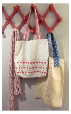 Lula Louise: Tutorial - Heart Stamped Tote Bags
