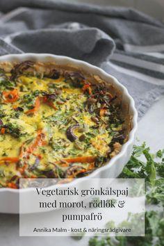 Vegetarisk grönkålspaj med rödlök, morot och pumpafrö - Clean Eating by Annika