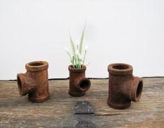 Rusty Pipe Dry Vase Rustic Flower Vase Urban by SeaLoveAndSalt