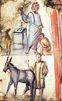Sacrifico di Isacco, IV d.C.Catacombe di Via Latina, Grottaferrata. cristiana romana