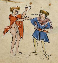 The Rutland Psalter c. 1260, Use of Sarum, British Library, Add MS 62925, detail of f. 37r. marginalia