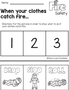 Fire Safety Crafts, Fire Safety For Kids, Fire Safety Week, Preschool Fire Safety, Child Safety, Community Helpers Preschool, Preschool Lessons, Teaching Safety, Fire Prevention Week