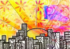 Cityscape - masked with tape then zentangles