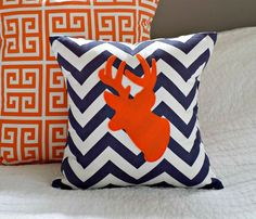 Orange and Navy Antler Chevron Throw Pillow Cover  by nest2impress