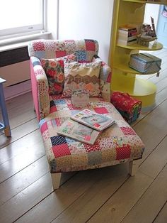 patchwork love this chair I have a picture of me on one at a B&B we stayed at that I loved just as much! is part of Patchwork chair - Patchwork Chair, Patchwork Ideas, Funky Furniture, Furniture Ideas, Sewing Rooms, Upholstered Furniture, Chair Design, Upholstery, Quilts