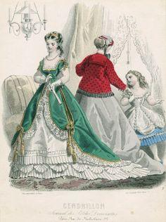 January fashions, 1867 France, Cendrillon