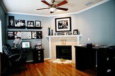 Paint family room on pinterest behr benjamin moore for Santorini blue paint